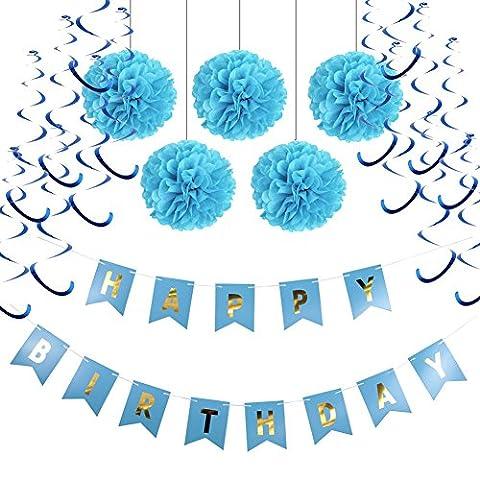 HAPPY BIRTHDAY Girlande Set Geburtstag Dekoration Seidenpapier Pompoms Blau Folie