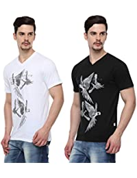 ODAKA Men's Cotton Graphic Print Tee - Flying Birds Print ( Pack Of 2 Tee Shirts )1968123031