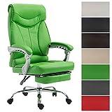 CLP Bürostuhl Big Iowa mit Kunstlederbezug, Chefsessel mit Fußstütze, max. belastbar bis 136 kg, höhenverstellbar Grün