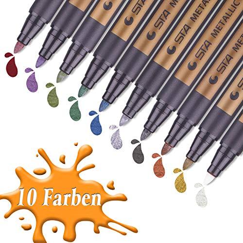 Metallic Stifte, 10 Farben für Geschenkkarten, Scrapbooks, Felsmalerei, selbstgemachte Fotoalben, mittlere Strichstärke (Stifte Papier-für)