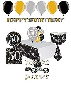 feste feiern geburtstagsdeko zum 50 geburtstag 47 teile all in one set luftballon tischdecke. Black Bedroom Furniture Sets. Home Design Ideas