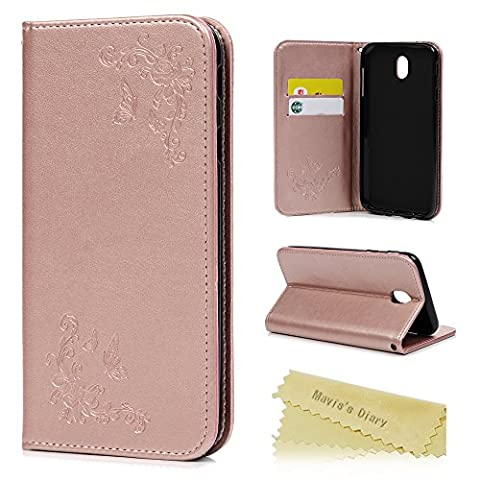 J5 2017 Case ,Galaxy J5 Case (2017 Model) - Mavis's Diary Case PU Leather Flip Cover Light Weight Inner Rubber Gel Back Holder Auto Magnetic Closure ID / Card Slots Stand for Samsung Galaxy J5 2017 - Rose Gold (Not for 2015/2016