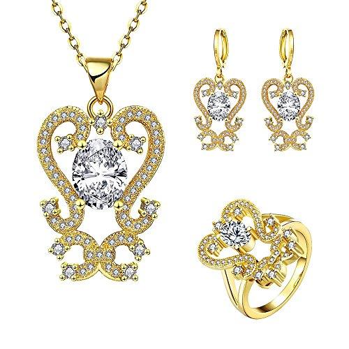 K Gold Zirkon Elegante Blume Halskette Ohrringe Ring Drei Stück Set , Gold , 8 (Hochzeit Ring 3 Stück Set)