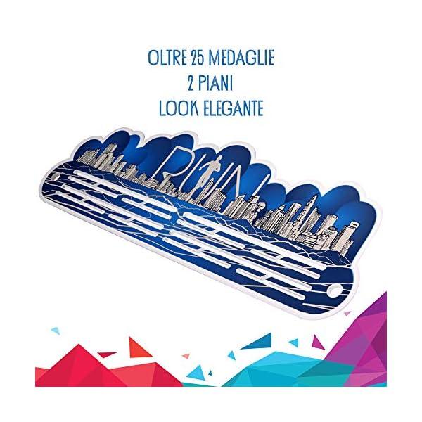 Porta Medaglie Running | Medagliere da Parete Blu per Uomo e Donna | 25 Medaglie 2 spesavip