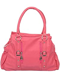 Lorna Women's Stylish PU Hand Bag (Pink/Black/Maroon)