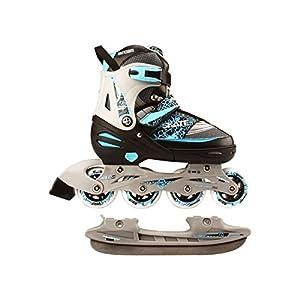 Nijdam 2in1 Semi Softboot Kinder Inline Skates Rollschuhe Schlittschuhe