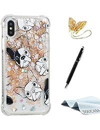 TOUCASA Funda iPhone X, Glitter Brillante Liquida Transparente TPU Silicona,Suave Gel Protectora Carcasa,Funda Móvil Case Líquido Quicksand Anti-arañazos Brillante Case Cover para iPhone X-Dálmatas
