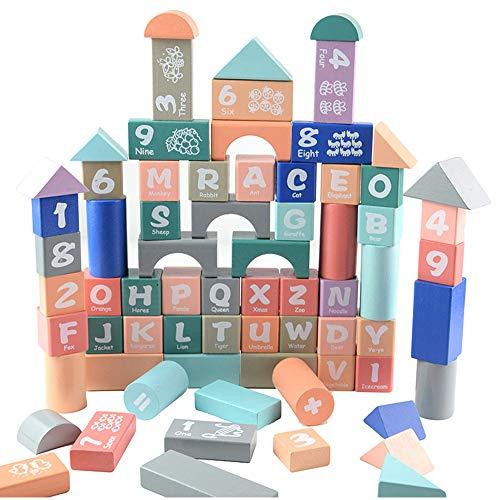 SXPC Holz alphanumerische Blöcke Kinder Puzzle Früherziehung Form kognitive Spielzeug 82st
