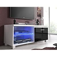 Home innovation – Meuble de télévision LED, Salon-Salle à manger, Blanc et Noir Laqué, Dimensions: 100 x 40 x 42 cm de profondeur.