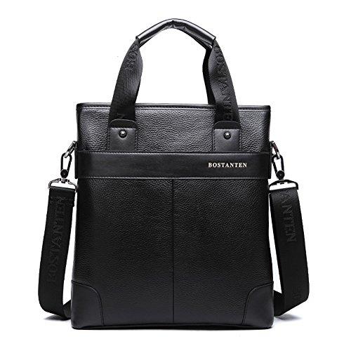 YAAGLE Herren Business Taschen echtes Leder Handtasche Kuriertasche Aktentasche Umhängetasche Reisetasche-coffee black