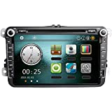 """KKmoon 8"""" 1080P HD Reproductor de DVD GPS Navegación Bluetooth Radio 2 Din Estéreo para VW Volkswagen con Mapa, Tarjeta, Color Negro"""