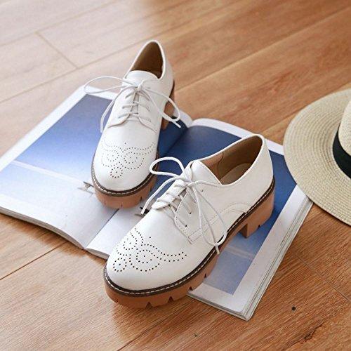 COOLCEPT Damen Mode-Event Schnueren Schuhe mit Absatz Geschlossene Pumps Square Heel Schuhe White