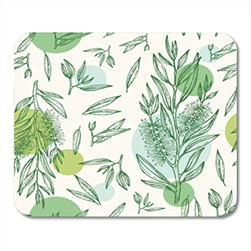 KKISTORE Gaming Mauspads Pad Background Seamless with Tea Tree Cosmetics and Medical Plant Drawing 11.8