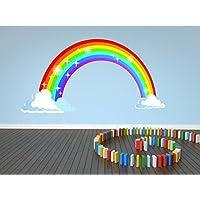 Rainbow Nursery Clouds Huge Kids Wall Art Sticker Full Colour Print Decal Transfer P2Q (X Large 168cm x 87cm)