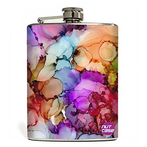 Designer Hip Flask 9 Oz - Nutcase - Free Funnel Along - Alcohol Ink