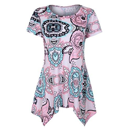 JUTOO Damen Kurzarm Swing Tunika Sommer Floral Flare T-Shirt Top Bluse Shirt (X-Large, Pink)