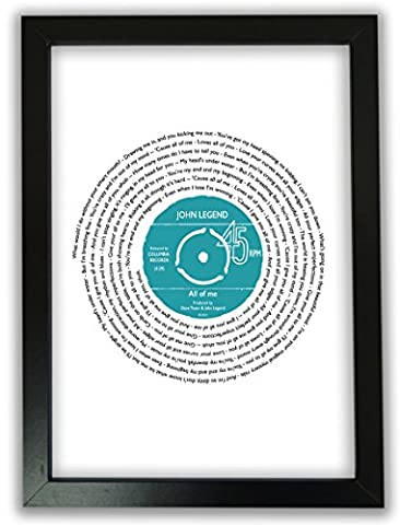Personalised Vinyl Record of Song Lyrics - A4 Print Only - Any favourite song / words