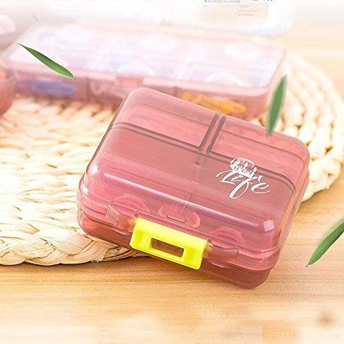 xiduobao Pille Veranstalter Box Weekly Case, Premium Design–große Kapazität Mini Reise Pillendose Tablettenbox Fällen Drug Medizin Pille Box Case Organizer Red(03) (Grau Veranstalter Schrank)