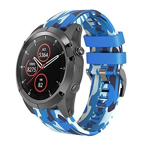 Ktimor 26mm Silikon Camo Uhr Band Armband Schlaufe Armband für Garmin Fenix 3/3 Hr 5X - Blau -