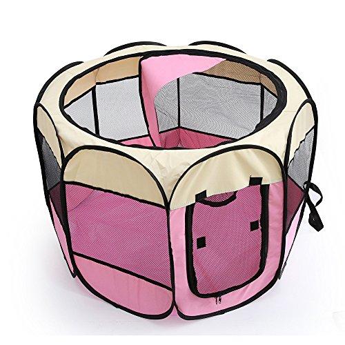 Kismaple box per cagnolini cuccioli e piccoli animali recinto, casa tenda per cani gatto animali da usare all'interno e all'esterno- facile da montare (medio: 90×90×60cm, rosa)