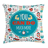 BUZRL Fitness Throw Pillow Cushion Cover, You Can Do Much More Encouraging Phrase with Gym Icons Cardio Sport Wellness, Decorative Square Accent Pillow Case, 18 X 18 inches, Teal White Red