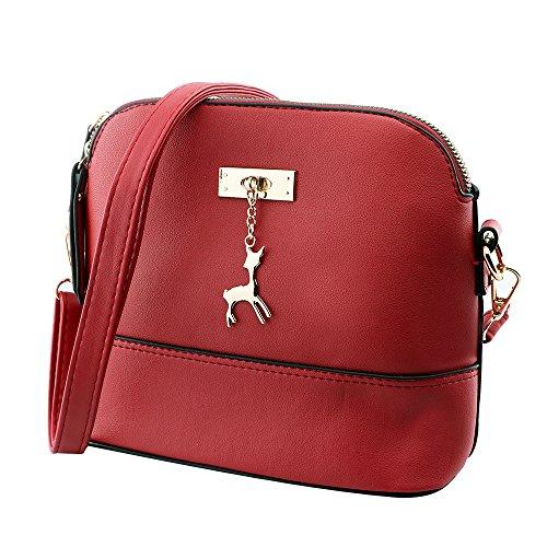 Kleine Umhängetaschen Leder Damen Günstige Handtaschen Schule Elegant Shopper (rot)