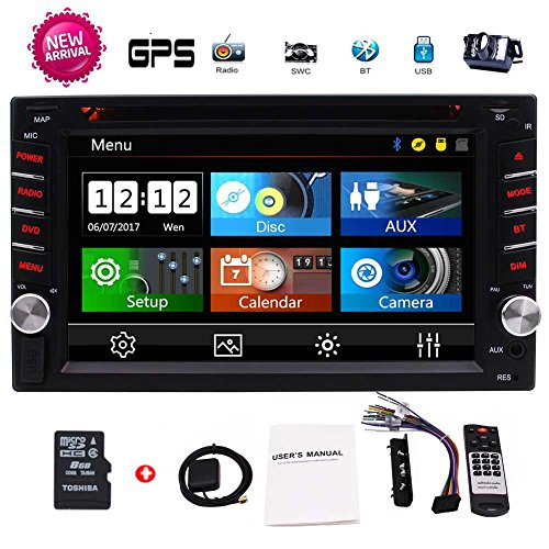 Doppel-DIN-6.2 Zoll Multi-Touch Screen In Dash Navigation GPS Autoradio Autoradio 2 DIN-Radio-FM AM RDS-Empf?nger Auto-DVD-Spieler-Unterstützung Bluetooth Hands-Free USB Sd mit 8G Kostenlose GPS-Kart (13-zoll-auto-dvd-player)