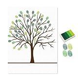uniqueaur Hochzeit Geburtstag Party Schild in Signature Leinwand Gästebuch Fingerabdruck Gemälde grün grün