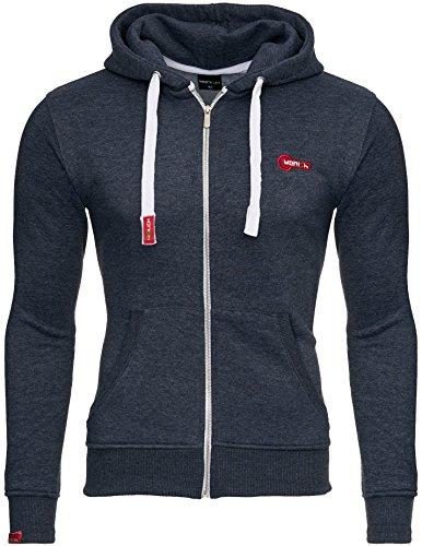 MERISH Sweatshirtjacke Hoodie Unisex Slim Fit Modell 226 Blau-Weiß