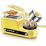 DZW Toast und Ei zwei Slice Toaster und Ei Maker, geröstete Croissants Frühstück Vollautomatisch 6 mal die Temperatur 1080 W - Gelb Multifunktion