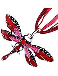 5ba7de8a5291 TONVER - Collar con Colgante de libélula de Color Creativo con Cadena Larga  de Cristal para