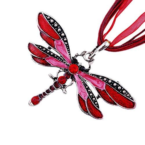 TONVER Pullover-Kette, kreatives Farben-Libellen-Anhänger, Lange Kette, Kristall-Halskette für Damen und Mädchen rot