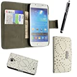 SAMSUNG GALAXY S4 MINI i9190 VARIOUS PU LEATHER MAGNETIC FLIP CASE COVER POUCH + FREE STYLUS (White Diamond Book)