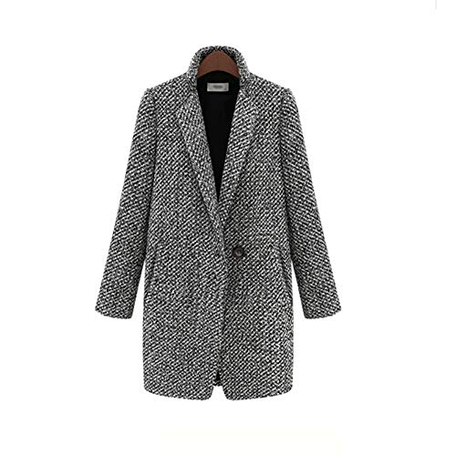 IOSDH8 Lange Frauen Mantel Weibliche Plus Size WinterKarierteJackeMischung Cape Mantel Tweed Outwear, 4XL, schwarz (Size Wolle Mischung Plus Mäntel)