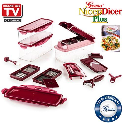 Genius Nicer Dicer Plus   18 Teile   Obstschneider   Zwiebelschneider   Pommesschneider   Tomatenschneider   Gemüseschneider   Bekannt aus TV   NEU