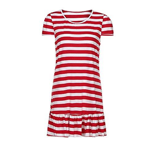 QingJiu Rock Mutter Dame Frauen Streifen Print Sommerkleid Schlank Minikleid ()