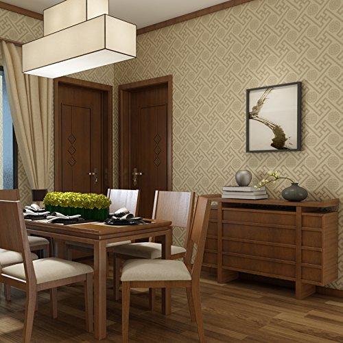 JSLCR Chinesische Tapete Wohnzimmer Wände Vlies 3D klassische Tapeten,Light khaki