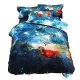 sourcingmap 3D Bedruckt Galaxy Sky Kosmos Nacht Muster Bettbezug Set Bettdecke hülle Kissenbezug Set Einzeln/Queen Größe - Mehrfarbig, Single Size