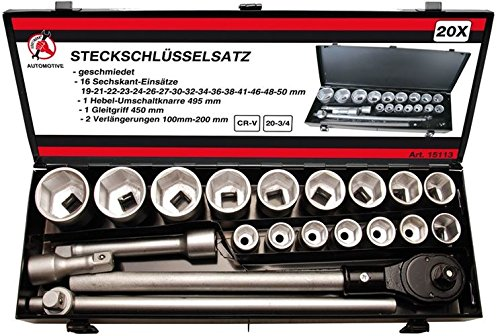 Kraftmann 15113 Steckschlüssel-Satz | Antrieb 20 mm (3/4″) | SW 19-50 mm| 20-TLG