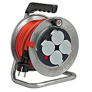 Brennenstuhl Enrouleur Cable Electrique Professionnel Silver Baby 10 m, (IP 44, Très Robuste, Gris, Garantie 3 ans), Fabrication Francaise