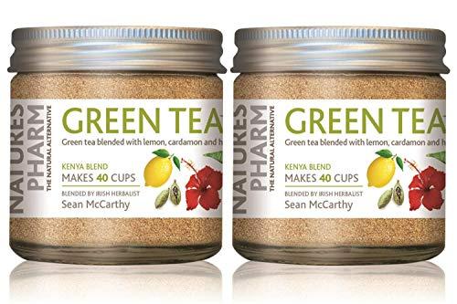Grüntee mit Zitrone, Bio-Kardamom & Bio-Hibiskus | 40 Tassen pro Glas | Set mit 3 x 25g Gläsern von NaturesPharm