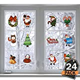Kompanion Set da 24 Pezzi Decalcomanie di Natale per Vetri e Decorazioni Finestre, Adesivi murali e Addobbi Festivi, 10cm x 15cm
