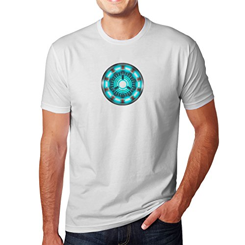 Kostüm Einfach Figur Buch - Arc Reactor - Herren T-Shirt, Größe: M, Farbe: weiß