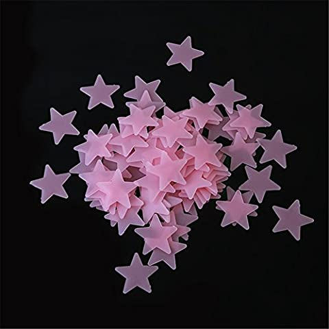 Yingwei 100pcs Glow In The Dark Plastic Stars Stickers Baby Kids Ceiling Wall Room (Red)