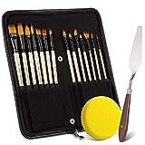 Yangbaga Künstlerpinsel Set, Malpinsel Flachpinsel mit Pinseltasche Ideal für Gouache, Wasserfarben, Flüssige Acrylfarben Ölfarben, 14 Stück, Weiß