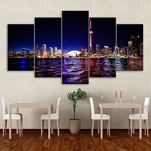 wand Modular Bilder Wand Dekoration 5 Toronto Gebäude Nachtsicht Für Wohnzimmer Drucke Malerei Poster-30x40cmx2 30x60cmx2 30x80cm ()
