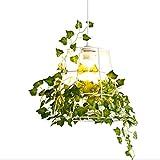 LEDMOMO Vogelkäfig Pendelleuchte Moderne Pflanzen Hängelampe für Bar Restaurant Flur Esszimmer (Deckenleuchte + Künstliche Pflanzen)