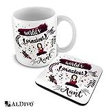 alDivo Premium Quality World's Greatest Aunty Printed Combo Gift Pack of Ceramic Coffee Mug 330 ml + Printed Coaster