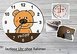 Kinder Wanduhr Kinderuhr Kinderzimmer Uhr mit Namen personalisiert laufruhig leise Teddy Bär (20.6 cm)