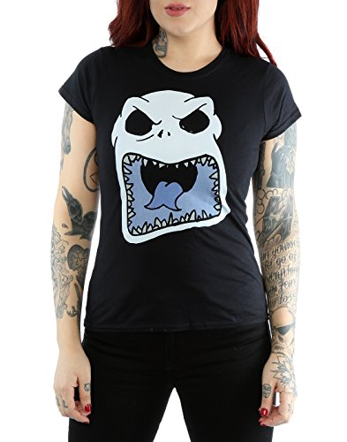 Disney Damen Nightmare Before Christmas Jack Skellington Scary Face T-Shirt Schwarz